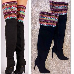 SUEDE EMBROIDERED SEQUIN  OVER THE KNEE BOOT